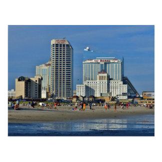 Cartão Postal Praia de Atlantic City com casino