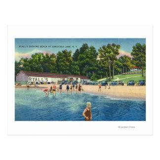 Cartão Postal Praia de banho de Ryall na opinião do lago