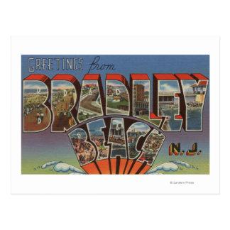 Cartão Postal Praia de Bradley, New-jersey - grandes cenas da