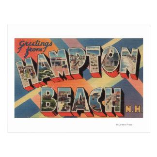 Cartão Postal Praia de Hampton, New Hampshire - grande letra