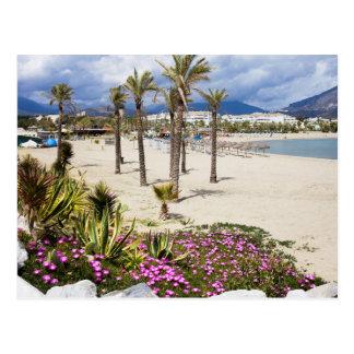 Cartão Postal Praia de Puerto Banus em Costa del Sol na espanha
