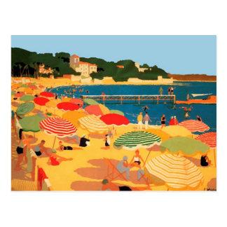 Cartão Postal Praia de Riviera francês do vintage