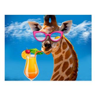 Cartão Postal Praia do girafa - girafa engraçado