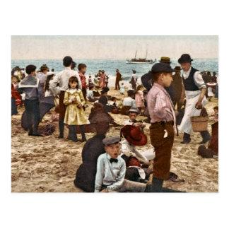 Cartão Postal Praia em Coney Island, vintage 1902 de New York