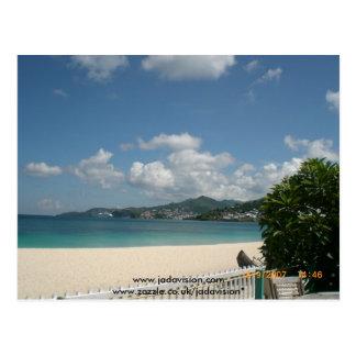 Cartão Postal Praia no hotel grande da praia, Grenada.