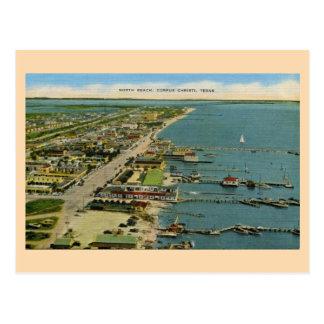 Cartão Postal Praia norte do vintage, Corpus Christi, Texas