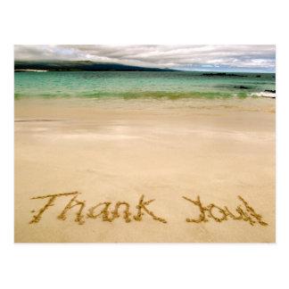 """Cartão Postal Praia """"obrigado que você"""" nota Cartão-Envia na lua"""
