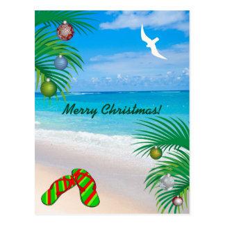 Cartão Postal Praia, palmeiras & Natal tropicais dos chinelos