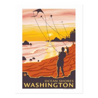 Cartão Postal Praia & papagaios - costas do oceano, Washington
