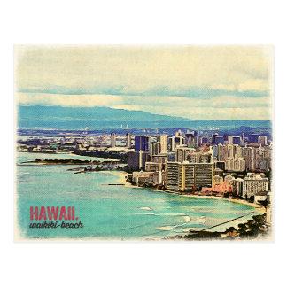 Cartão Postal Praia velha retro de Waikiki da ilha de Havaí Oahu