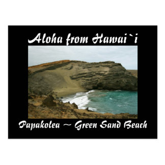 Cartão Postal Praia verde da areia de Havaí