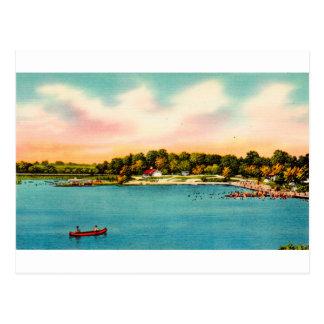 Cartão Postal Praias de banho Danbury do lago Candlewood,