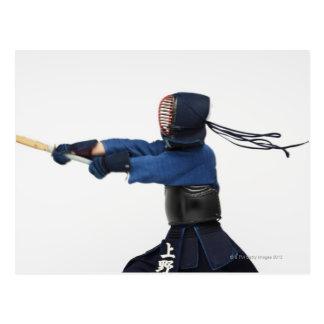 Cartão Postal Praticar do esgrimista de Kendo