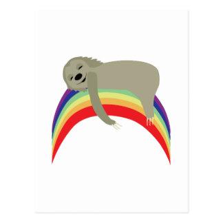 Cartão Postal Preguiça no arco-íris
