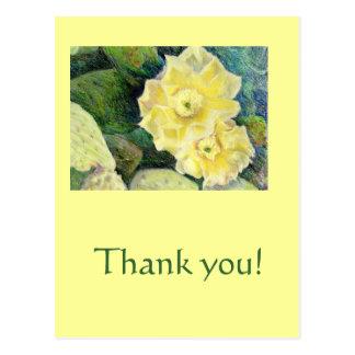 Cartão Postal Presente amarelo da flor da flor do cacto