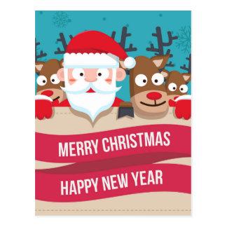 Cartão Postal Presente bonito dos desenhos animados da rena do