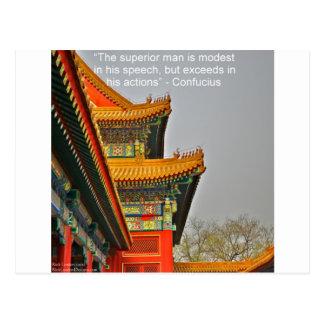 Cartão Postal Presente chinês antigo das citações de Confucius