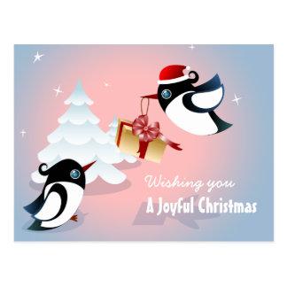 Cartão Postal Presente de Natal bonito dos pássaros