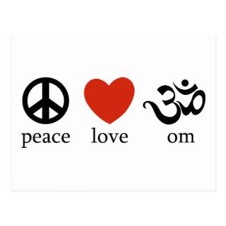 Cartão Postal Presente do OM do amor da paz