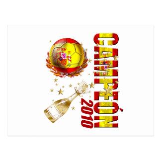 Cartão Postal Presentes 2010 da celebração da espanha de Campeon