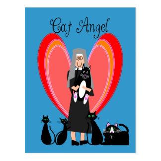 Cartão Postal Presentes da arte do anjo do gato da freira
