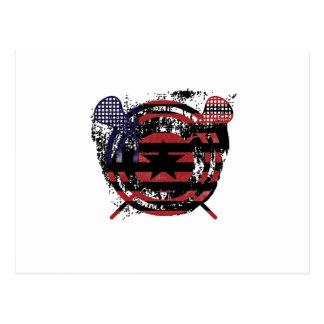 Cartão Postal Presentes da bandeira americana da vara do