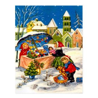 Cartão Postal Presentes do Natal em um mercado do Natal