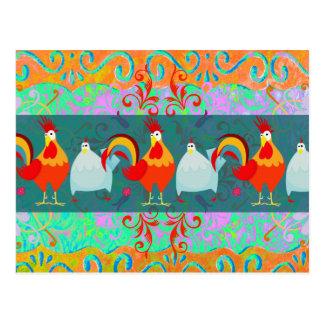 Cartão Postal Presentes Funky do animal de fazenda da galinha da