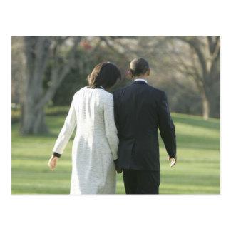 Cartão Postal Presidente Barack Obama e primeira senhora