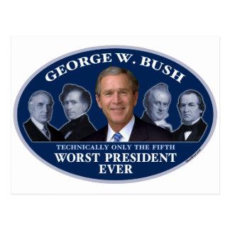 Cartão Postal Presidente o mais mau de George W. Bush 5o