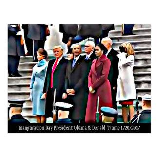 Cartão Postal Presidente Obama & Donald Trump do dia de
