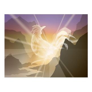 Cartão Postal Pressagio da luz - galo do nascer do sol