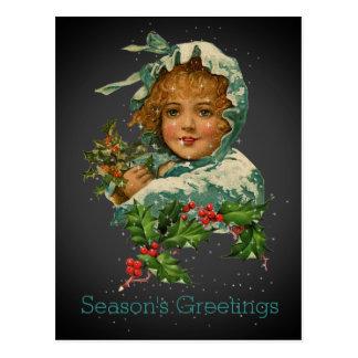 Cartão Postal Preto da menina do azevinho do vintage dos