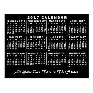 Cartão Postal Preto e branco clássico do calendário mensal de