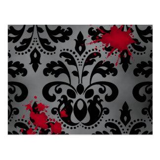Cartão Postal Preto e cinzas elegantes do damasco com sangue o