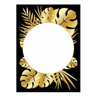 Cartão Postal Preto e modelo tropical elegante das folhas do