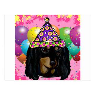 Cartão Postal Preto longo Doxie do cabelo do partido