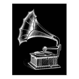 Cartão Postal Preto musical do jogador gravado de fonógrafo do