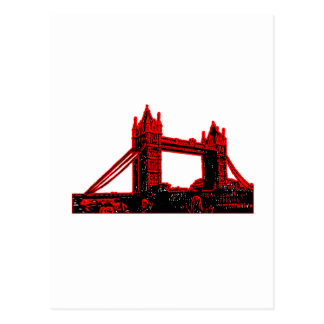 Cartão Postal Preto vermelho 3 da ponte de Inglaterra Londres o