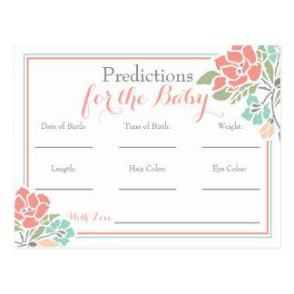Cartão Postal Previsões florais para o chá de fraldas, cerceta