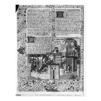 Cartão Postal Priam que olha a reconstrução de Troy