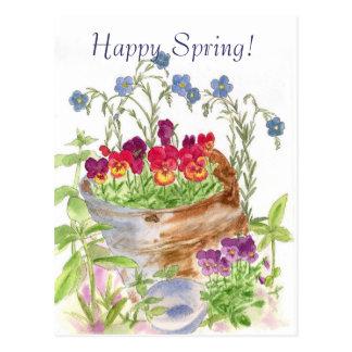 Cartão Postal Primavera feliz do buquê do balde da flor do