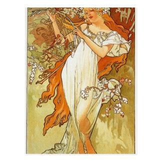 Cartão Postal Primavera por Alphonse Mucha