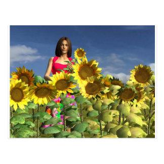 Cartão Postal Primavera revisado da menina de Peyton