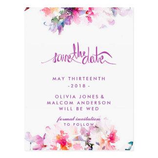 Cartão Postal Primavera roxo que Wedding economias florais a