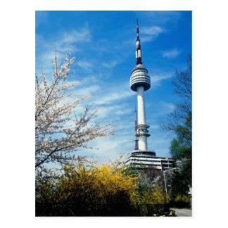 Cartão Postal Primavera, torre de Namsan, Seoul, Coreia do Sul