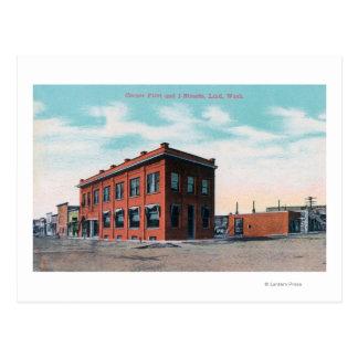 Cartão Postal Primeiramente e rua CornerLind de I, WA