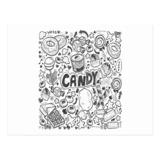 Cartão Postal Primeiro fevereiro - decorando com dia dos doces