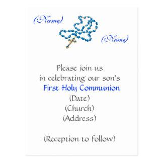 Cartão Postal Primeiro rosário Convite-Azul do comunhão