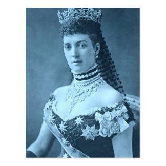 Cartão Postal Princesa Alexandra de Dinamarca no azul